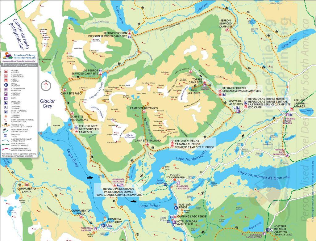 Torres del Pinpain-Karte