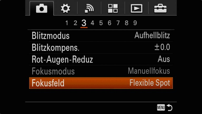 Sony A7RMII Voreinstellungen – Grrundeinstellungen