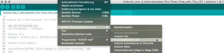 In der Arduino-Entwicklungsumgebung den Ardunio Uno auswählen
