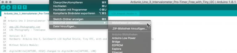 In der Arduino-Entwicklungsumgebung müsst Ihr eventuell zusätzlich die folgenden drei Libraries/Bibliothek auswählen: LiquidCrystal, RTClib und Wire bzw. erst noch installieren.