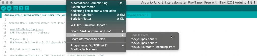In der Ardunio-Entwicklungsumgebung den USB Port auswählen