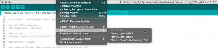 In der Arduino-Entwicklungsumgebung den USB Port auswählen