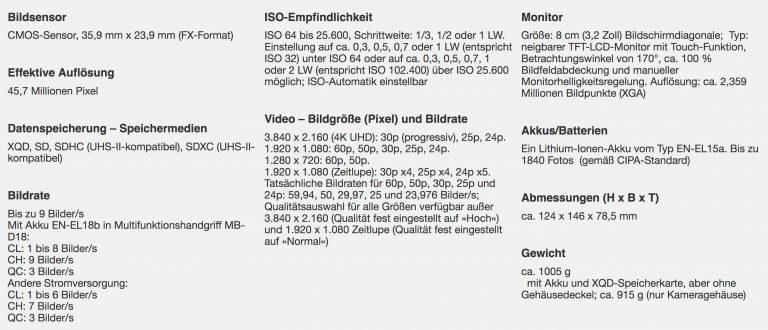 Nikon D850 spezifikation