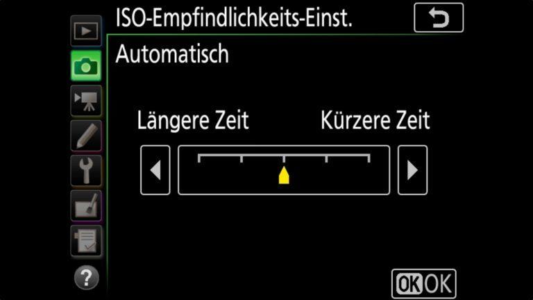 NIKON D850 ISO Empfindlichkeits Einstellungen