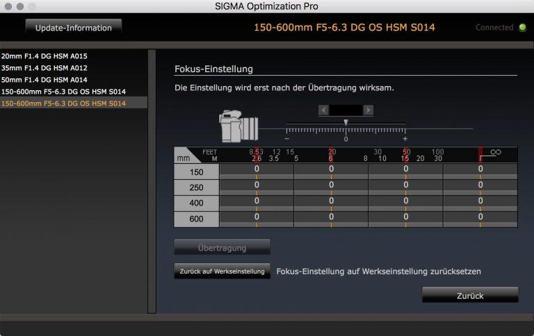 SIGMA USB Dock – Fokus-Einstellungen
