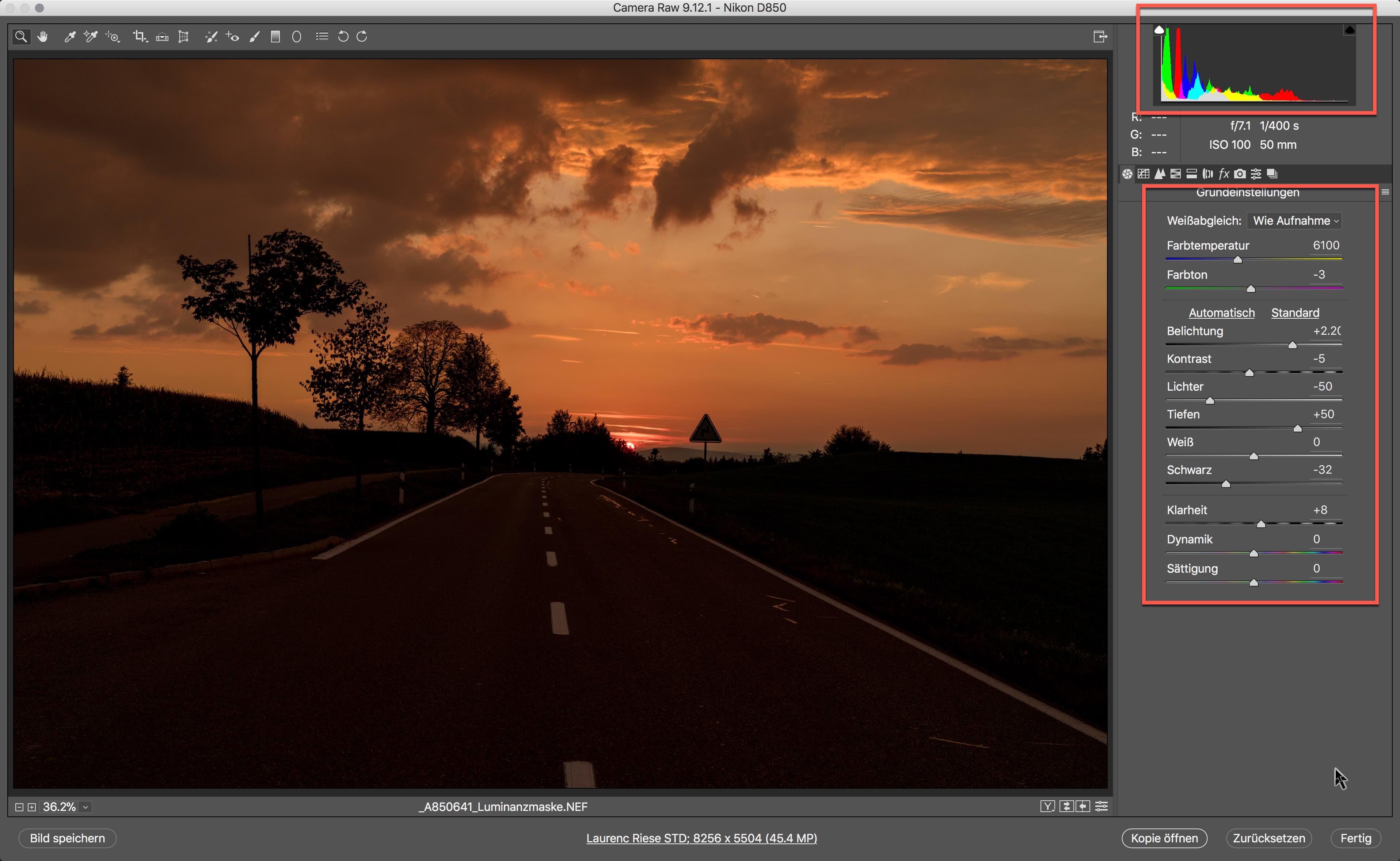 Smartobjekte in Photoshop - Bild im RAW Konverter Entwickeln