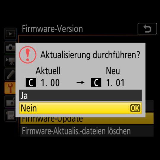 Nikon D850 Firmware-Update 1.01 - update starten