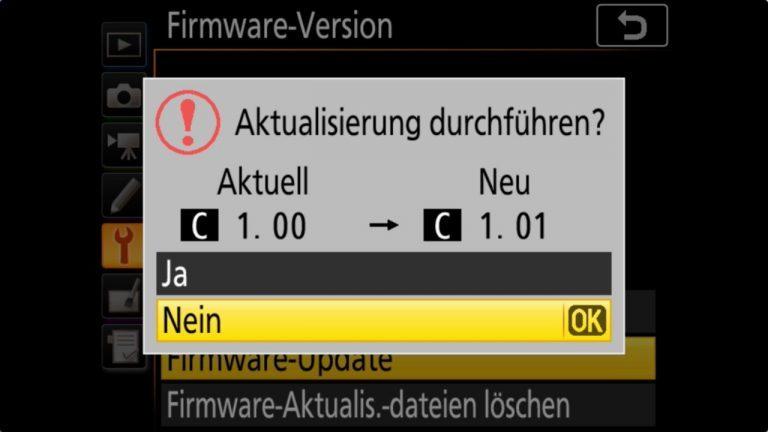 Nikon D850 Firmware-Update 1.01 – update starten