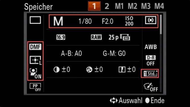 Das kleine Foto 1×1 – Sony A7 U1 & U2 Einstellungen