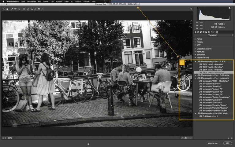 Sony JPG File geöffnet im Adobe RAW Konverter mit Presets Liste
