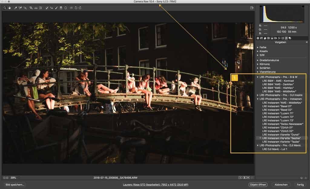 Sony RAW File geöffnet im Adobe RAW Konverter mit Presets Liste