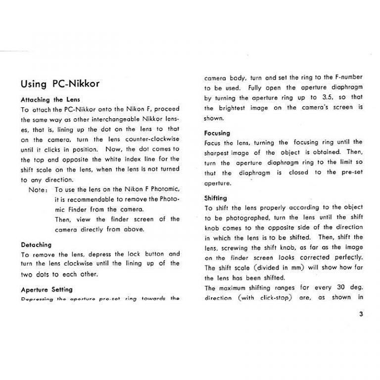 35mm f/3.5 PC-Nikkor – Shift von 1961
